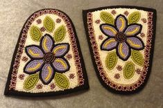 Inuit beaded slipper toppers by Jennifer Watkins Native Beading Patterns, Beadwork Designs, Native Beadwork, Native American Beadwork, Inuit Clothing, Native American Moccasins, Native Design, Native American Crafts, Sewing Leather