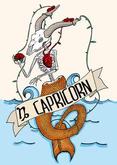 FRIDA KAHLO, capricorn, Limited edition zodiac sign, Original Illustration, Fine Art Print, tequila, anatomical heart