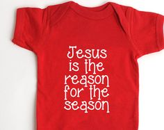 Christmas Baby Shirt - Jesus is the Reason for the Season - Newborn Red Outfit - New Baby Gift