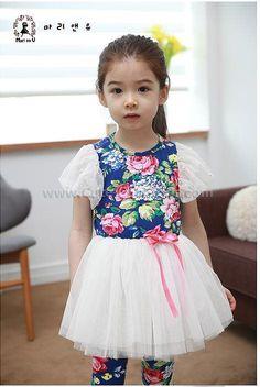 ชุดเดรสเด็กหญิงเกาหลี สีน้ำเงิน - ขนาด 100 120 130 140