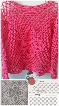 Freeform Crochet, Crochet Lace, Crochet Stitches, Free Crochet, Crochet Patterns, Tricot Simple, Crochet Summer Tops, Crochet Shirt, Crochet Woman