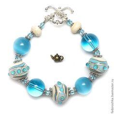 """Купить Браслет с авторским lampwork """"Голубая бездна"""" - бирюзовый, браслет, красивый браслет, морская тема"""