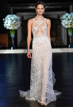 Alon Livne Fall 2016 illusion lace neckline and sheer geometric overlay wedding dress | https://www.theknot.com/content/alon-livne-wedding-dresses-bridal-fashion-week-fall-2016