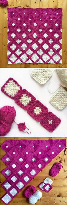 Beautiful Blanket from Granny Squares – Handmade paris Pure Wool Granny Squares Daisy Blanket Afghan Sofa…Granny Square Crochet Afghan blanket, handmade…Mitered Daisy Granny Squares Blanket Free Crochet… Crochet Diy, Crochet Motifs, Afghan Crochet Patterns, Love Crochet, Amigurumi Patterns, Crochet Crafts, Crochet Stitches, Crochet Projects, Knitting Patterns