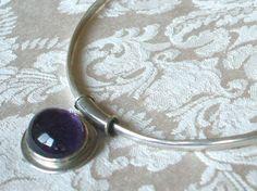 Vintage Taxco Mexico Sterling Silver Collar Necklace 30 Carat Amethyst Slide | eBay