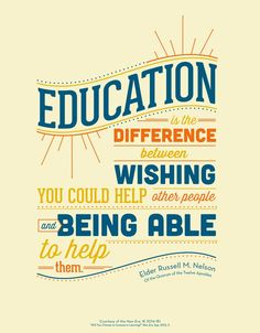 Elder Russell M. Nelson talks about the value of education. Read more: http://bit.ly/1zcEQ0j