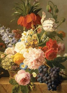 Greeting Card: Still Life with Flowers and Fruit..815
