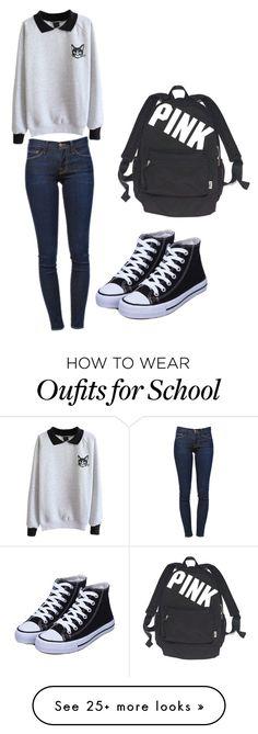 """A kitty day at school"" by fionamillerrocks on Polyvore featuring moda, Frame Denim y Victoria's Secret"