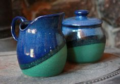 Stoneware pottery cream and sugar set blue and green wheel thrown