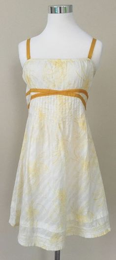 Free People Dress 8 white floral yellow ribbon smocked Swiss dot sundress #FreePeople #Sundress #Casual