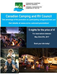 Canadian RVing and Camping Week – 5 nights for the price of 4 Week 5, Rv, Promotion, Camping, Night, Books, Campsite, Motorhome, Libros