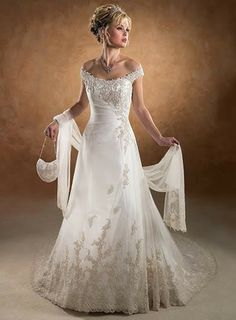 Off The Shoulder Applique Chiffon Wedding Dress With Sleeves