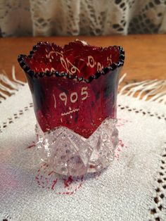Antique Victorian Ruby Flashed Pressed Glass Souvenier by GCByHand,