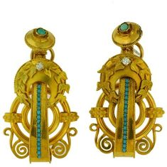 14K Yellow Gold Turquoise Diamond Dangle Drop Earring