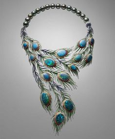 Alessio Bosch's Plumes necklace takes the peacock tail as its inspiration and uses 15 black opals as the centrepieces of cascading and movable feathers.
