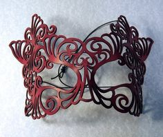 Rococo lacy mask in red leather $42