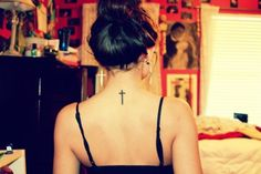 Cross tattoo on back of neck a little higher Little Cross Tattoos, Small Cross Tattoos, Cute Little Tattoos, Cute Tats, Back Tattoo, I Tattoo, Tattoo Quotes, Sexy Tattoos, Tatoos