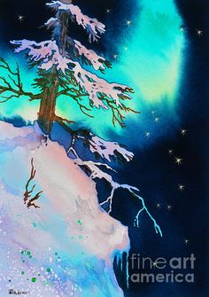 Night Veil winter scene aurora borealis northern lights watercolor painting artwork vivid blue green turquoise colors really pop against the black and white snow covered pine tree.