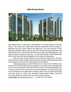 Luxury Flats in Sikka Kaamya Greens at Noida Extension