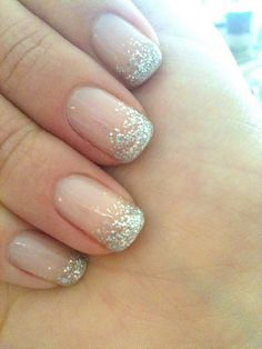 Nude Nails with Glitter Tip... Would be cute for Xmas!