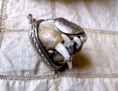 Antique amulet hunting trophy - silver jaws teeth fangs fox hunting charm pendant relic