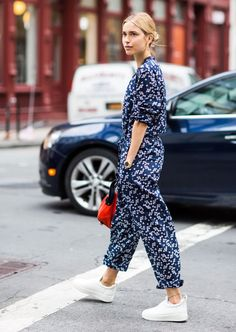 (must make!) printed jumpsuit + sneakers