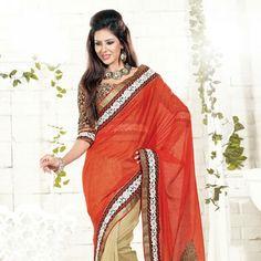 #Orange #Silk Saree With Blouse