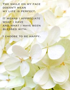 The Smile on My Face Doesn't Mean  My Life Is Perfect. It Means I Appreciate What I Have  and What I Have Been Blessed With. I Choose To Be Happy. #inspiration