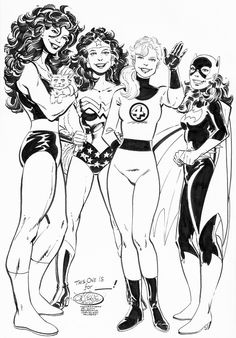 She-Hulk, Wonder Woman, Invisible Woman & Batgirl commission by John Byrne. 2014.