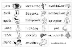 body parts in Greek Learn Greek, Greek Language, Greek Music, Home Learning, Home Schooling, How To Stay Motivated, Body Parts, Teaching Kids, Human Body