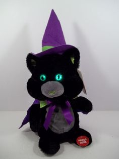 "Animated Black Cat in Purple Cape & Hat - Green Eyes - ""Ding Dong the Witch..."""