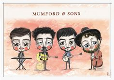Mumford & Sons, as illustrated by jopereira. Marcus Mumford, Mumford Sons, Music Theater, Theatre, Mums The Word, Good Find, Hip Hop Artists, Freelance Illustrator, Music Songs