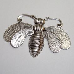 Jewelry Supply Large Bee Insect Antique Silver - 1 Piece
