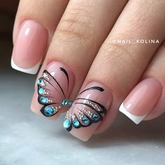 Butterfly nail art designs are loved by women because of its cute, colorful, beautiful patterns and symbolic significance, or simply because the design of butterfly nails has produced attractive effects on nails. Butterfly Nail Designs, Butterfly Nail Art, Nail Designs Spring, Nail Art Designs, Nails Design, Beautiful Nail Art, Gorgeous Nails, Fancy Nails, Cute Nails