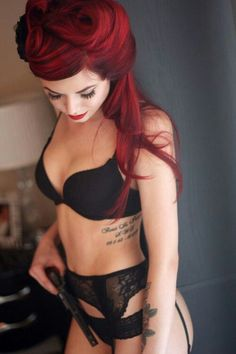 Lingerie + red hair + tattoo