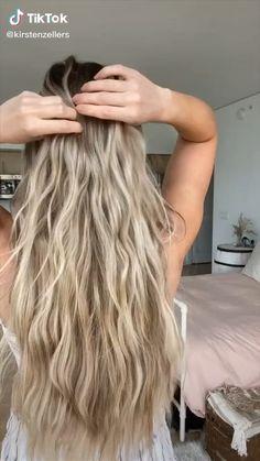 Hair Up Styles, Medium Hair Styles, Beachy Hair Styles, Easy Hairstyles For Long Hair, Cool Hairstyles, Perm Hairstyles, Hairstyles Videos, Fringe Hairstyles, Curly Hair Tutorial