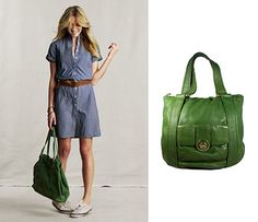 1.	Spring Style Inspiration! Pair a chambray dress with a green handbag and casual sneakers for a stylish laidback outfit. http://bobags.com.br/bolsa-michael-kors-verde.html   #michaelkors #bobags #brecho