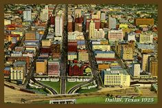 Dallas Texas Postcard 1935. Quilt Block printed on cotton. Ready to sew. Single 4x6 block $4.95. Set of 4 blocks with free Wall Hanging Pattern $17.95.