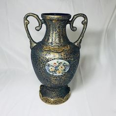 Seramic Vase , Gilded Floral Patterned Vase , Brass Base and Brass Ornate Vase , Handcrafted Vase , - Handcrafted Ideen Keramik Vase, Rustic Bathroom Decor, Candle Holder Set, Vase Centerpieces, Ceramic Decor, Porcelain Vase, Pottery Vase, Messing, Vintage Home Decor