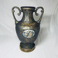 Seramic Vase , Gilded Floral Patterned Vase , Brass Base and Brass Ornate Vase , Handcrafted Vase , - Handcrafted Ideen Ceramic Decor, Hand Crafted Furniture, Vase, Vase Centerpieces, Ornate, Handcrafted Vase, Wooden Candles, Ceramic Vase, Pottery Vase