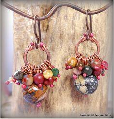 Grappes de minuscules perles mixtes swing des anneaux de cuivre vieilli, martelé, petite, coloré