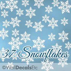 Winter Snowflakes Decals   Winter Wonderland, Winter Onederland Birthday  Party Decorations, Vinyl Wall Decals, Holiday Decor