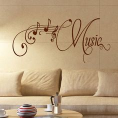 LARGE MUSIC ROOM WALL QUOTE GIANT ART STICKER TRANSFER DECORATION DECAL STENCIL #MattVinylPaintedEffect