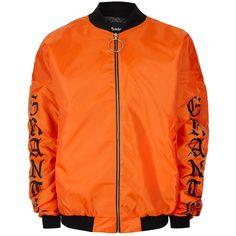 TOPMAN Granted Orange Nylon Oversized Bomber Jacket ($135) ❤ liked on Polyvore featuring men's fashion, men's clothing, men's outerwear, men's jackets, jackets, orange, mens oversized denim jacket, mens nylon jacket, mens orange ski jacket and mens bomber jacket