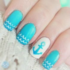 53 Collection of Awesome Anchor Nail Art Designs - Nails C Anchor Nail Designs, Anchor Nail Art, Nail Art Designs 2016, Beach Nail Designs, Pretty Nail Designs, Simple Nail Art Designs, Easy Nail Art, Nail Designs For Kids, Nautical Nail Designs