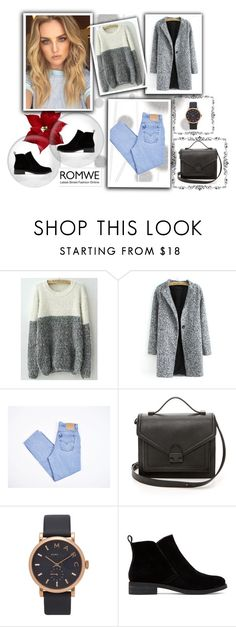"""""""White Grey Round Neck Shaggy Knit Sweater"""" by nermina-okanovic ❤ liked on Polyvore featuring Komar, Levi's, Loeffler Randall, Marc by Marc Jacobs, Lucky Brand and romwe"""