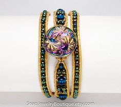 """Leather triple wrap snap bracelet beaded blue green iris, for 18mm snaps, like ginger snaps noosa, fits up to 6.5"""" (16.5cm) wrist"""