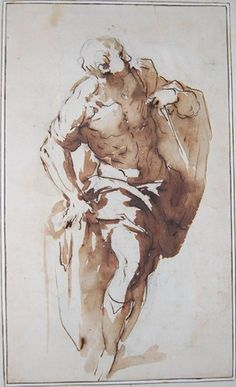Palma Giovane (Jacopo Negretti), c.1548-1628, Italian, A man standing with his right arm resting on a plinth and looking up to right, 1563-1628.   Pen and brown ink and brown wash, over black chalk; 26 x 15.7 cm.  British Museum, London.  Mannerism.