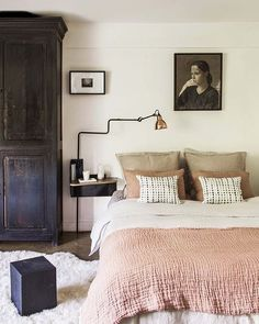 Love the colour combo used in this beautiful bedroom!  Frederic Ducout . Good night all! . Image via #pinterest #bedroom #nordichome #nordicinspiration