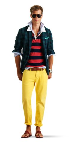 Michael Bastians for Gant - S/S 2012  The Plaid Sportcoat -- Notice the fitted cut, tighter at the chest and sleeve, higher arm opening, longer sleeves and a tapered waist.  Two button, single breasted, pincord elbow patches (one of my things), and a contrasting striped lining.  I can't say I'm ready for the yellow pants quite yet but check back later in the summer.